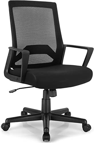 lowest Giantex Mid Back Mesh Office Chair, Ergonomic Computer Desk Chair with Lumbar outlet sale Support and Armrests, Adjustable Height Rolling Swivel Executive Task Chair Home Office, lowest Black online