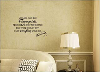 Elvis Presley Values Are Like Fingerprints Nobodys are the same but you leave them everything you do Wall Decal Sticker Art Mural Home D&eacutecor Quote The King Rock and Roll for Bedroom Living Room