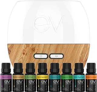 Earth Vibes Aromatherapy Top 8 Pure Essential Oil and Ultrasonic Diffuser Gift Set Starter Kit (200ml + 8x10ml) Tea Tree, Lavender, Peppermint, Eucalyptus Rosemary, Frankincense, Lemon Grass, Orange