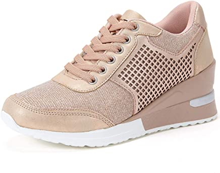 37a4777b24f4 ANJOUFEMME Chaussure Compensee Plateforme Mode pour Femmes Confortables et Respirants  Lacets Sneakers, Casual Baskets,