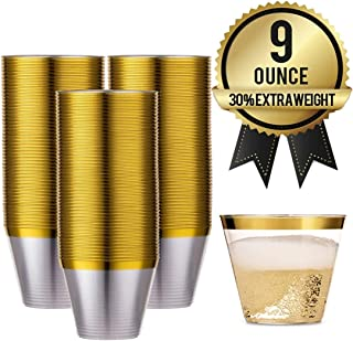 100 Gold Rimmed Reusable Plastic Cups – Thick, Durable 9 oz. Disposable Champagne Glasses – Plastic Gold Cocktail Wine Rim Cup For | Holiday | Party | Birthday | Wedding | Gold Cups by Amedy's