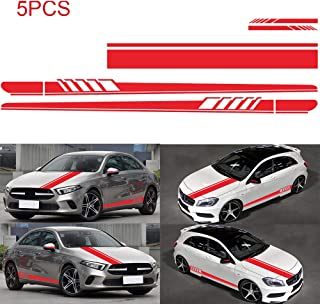 Lovelychica 5PCS Vinyl Racing Stripe Decal Sticker for Car Decoration Fender, Hood, Roof, Side, Skirt, Bumper of Racing Rally Stripes Stripe Graphics Decal Car Universal