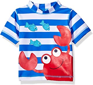 Little Me Children's Apparel Baby and Toddler Boys UPF 50+ Short Sleeve Rashguard Swim Shirt