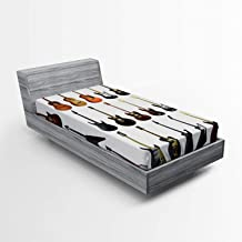Ambesonne Music Fitted Sheet, Instruments Pattern Classical and Bass Varieties of Guitars Rock and Jazz Music Theme, Soft Decorative Fabric Bedding All-Round Elastic Pocket, Twin Size, Brown Black