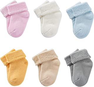 Baby Socks, Fowateda 6 Pairs Toddler Socks Thick & Warm for Newborn Infants Toddlers 0-4 Years Old