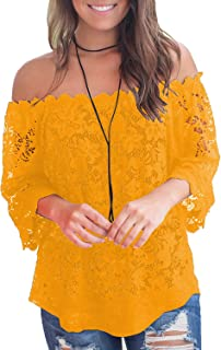 c0ecd16769 MIHOLL Women s Lace Off Shoulder Tops Casual Loose Blouse Shirts