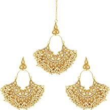 Ethnic Traditional Indian Antique Gold Plated Pearl stone beads Maang Tikka With Earring Set Wedding Partywear Forehead Jewelry