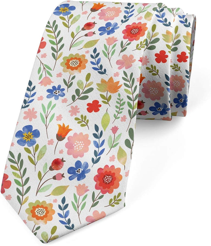 Ambesonne Necktie, Soft Colored Floret, Dress Tie, 3.7