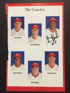 Autographed/Signed Steve Henderson Philadelphia Phillies 5x9 Player Photo Guaranteed to pass PSA/JSA