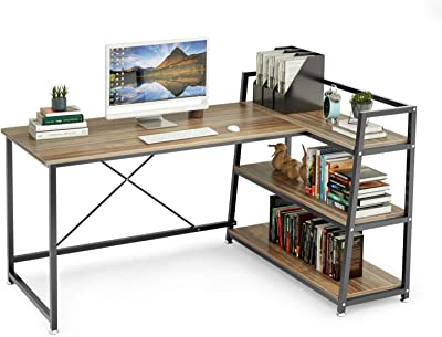 L Shaped Computer Desk with Storage Shelves Adjustable60 Inch 3-Tier Corner Computer Desk, X-Frame Reinforced Design WorkstationStudy Writing Table for Small Space Gaming Home Office