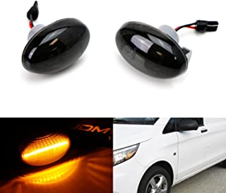 iJDMTOY Smoked Lens Amber Full LED Front Side Marker Light Kit For 2003-up Mercedes-Benz Metris Vito Viano Citan V-Class Passenger Van, Powered by 12-SMD LED, Replace OEM Sidemarker Lamps