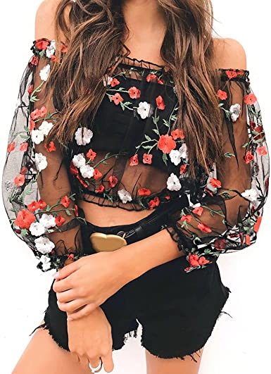 MIOIM Blusa Transparente de Mujer Blusas Cortas Blusas de ...