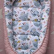 Aquarius PIMKO Babynest Babynestchen f/ür Baby Kuschelnest 2-seitig Babykokon f/ür S/äuglinge und Neugeborene Babynestchen 100/% Baumwolle Babykissen geeignet f/ür Zuhause oder als Reisebett 55 x 90 cm
