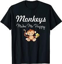 Monkeys Make Me Happy Funny Cute Cartoon T-Shirt