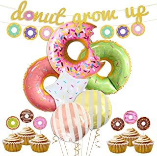 KREATWOW Donut Party Decorations Donut Grow Up Banner Mylar Balloons Cupcake Toppers for Donut Birthday Party Decorations