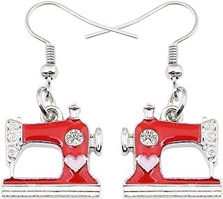 NEWEI Enamel Alloy Drop Dangle Cute Sewing Machine Earrings Fashion Tools Jewelry For Women Girls Gift Decoration Charms