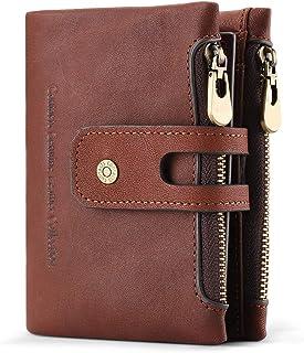 財布 メンズ 二つ折り 本革 牛革 小銭入れ カード19枚収納 ラウンドファスナー 一流の財布職人が作る ギフト包装 (ダークブラウン)