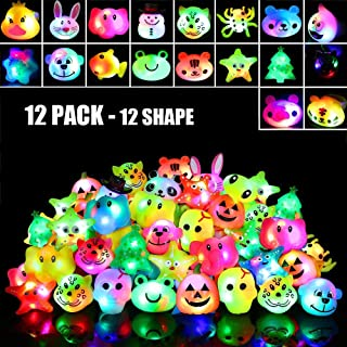 Birthday Party Favors for Kids Prizes 12 Pack Flashing LED Jelly Light Up Rings Toys Bulk Boys Girls Gift Blinky Glow in The Dark Party Supplies Christmas Stocking Stuffers, 12 Shape