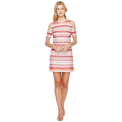Calvin Klein Cold Shoulder Stripe Dress (Hibiscus Multi) Women