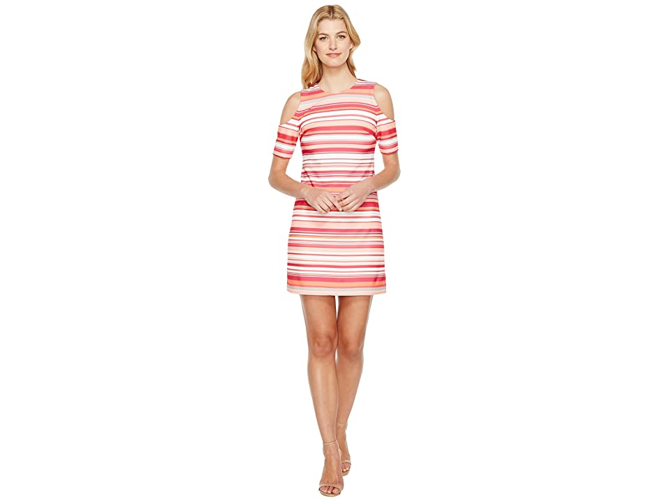 Calvin Klein Cold Shoulder Stripe Dress (Hibiscus Multi) Women