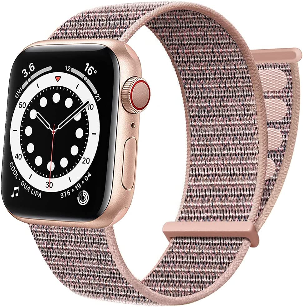 AdMaster Sport Nylon Velcro Band Compatible with Apple Watch 38mm 40mm 41mm, Adjustable Breathable Woven Men Women Braided Strap Compatible for iWatch Series 7/6/5/4/3/2/1 SE 38/40/41 mm Pink Sand