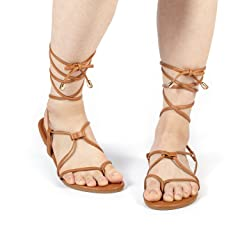 b3e56a169cd DREAM PAIRS Women s Sammy Gladiator Lace Up Flat Sandals