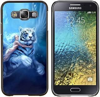 Jordan Colourful Shop - FAIRYTALE BIG TIGER GIRL WINGS BLUE HAIR For Samsung Galaxy E5 E500 - < Personnalis???? noir Houss...