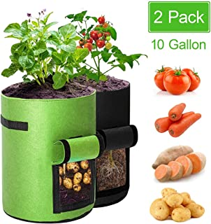 Potato Grow Bags 10 Gallon 2 Pack with Flap & Handles, Tomato Planter Bags Thickened Felt Fabric Pots Planting Pouch Garden Container Vegetables Planter Pots Outdoor Black and Green