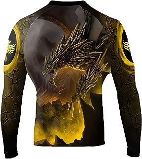 Raven Fightwear Men's Earth Dragon Rash Guard MMA BJJ Black