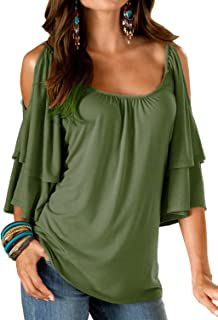 Uniboutique Women's Cold Shoulder Ruffle Sleeve Summer Loose Fit Tunic Top Shirt Blouse