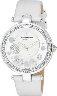 Akribos XXIV Women's Fashion Diamond Crystal Dial Satin Over Leather Strap Watch