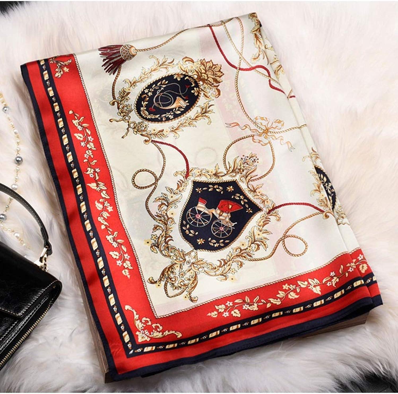 JUN Silk Printed Shawl Fashion Wild Ladies Small Square Scarf (color   Red)