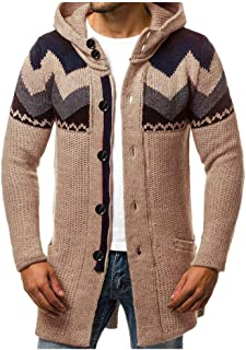 Mens Long Cardigan Sweaters Lightweight Hoodie Autumn Winter Warm Fashion Casual Slim Fit Trench Coat
