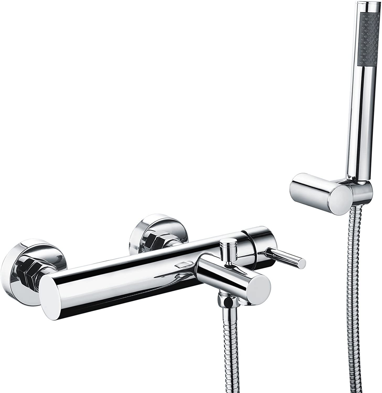 2 Verbraucher Wannenarmatur Einhebel-Wannenmischer Armatur Wasserhahn Duscharmatur mit Handbrause inkl. Wandhalterung für Bad