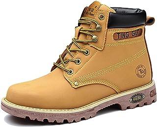 CHNHIRA Chaussures De Sécurité Hommes Bottes De Sécurité en Cuir Travail Antidérapante Embout Acier Semelle Anti-Perforation