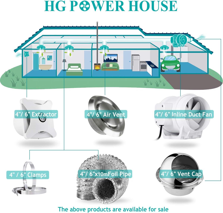 conducto de aire redondo de PVC de aluminio para ba/ño cocina inodoro /φ4 x 5 m, gris extractor hidrop/ónico /φ100 mm manguera flexible de ventilaci/ón HG Power Conducto de ventilador