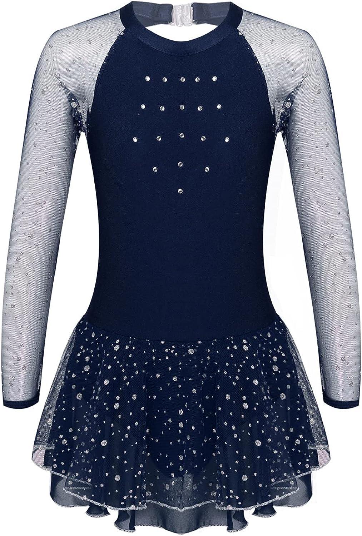 VernLan Big Girls Mock Neck Roller Dress Skating Ice Danc latest Figure Award-winning store