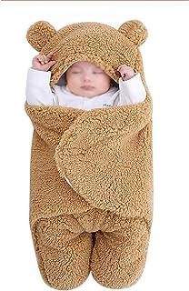 Manta Envolvente para Bebé Recién Nacido Saco de Dormir para Niñas Y Niños Manta Envolvente para Cochecito Saco de Dormir Adecuada 0-6 Months Bebés Brown ThickeningWhite Standard-3 to 6 months
