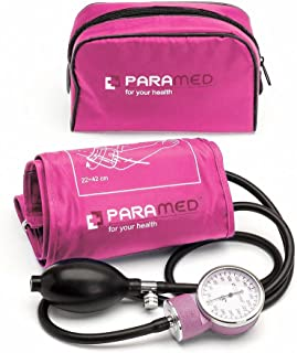 Professional Manual Blood Pressure Cuff – Aneroid Sphygmomanometer with Durable Carrying Case by Paramed – Lifetime Calibration for Accurate Readings – Pink
