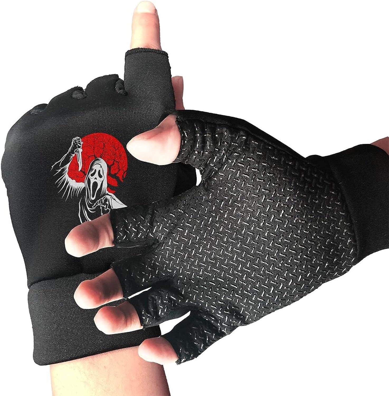 Scream Knitted Mittens Gloves Stretchy Warmer Fingerless Non Slip Gloves For Unisex