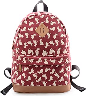 Douguyan Casual Lightweight Print Backpack for Girls and Women School Rucksack Red rabbit 133