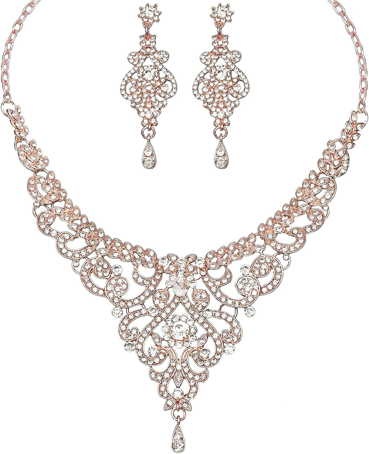 Gorgeous Crystal Wedding Jewelry for Bride Sparkling Rhinestone Bridal Statement Necklace Women's Dangle Earrings Set