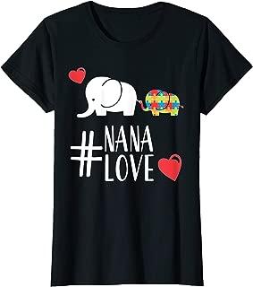 Womens Autism Awareness cute T-Shirt Elephant Nana Heart gift