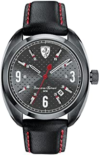 Ferrari Mens Quartz Watch, Analog Display and Leather Strap 0830207