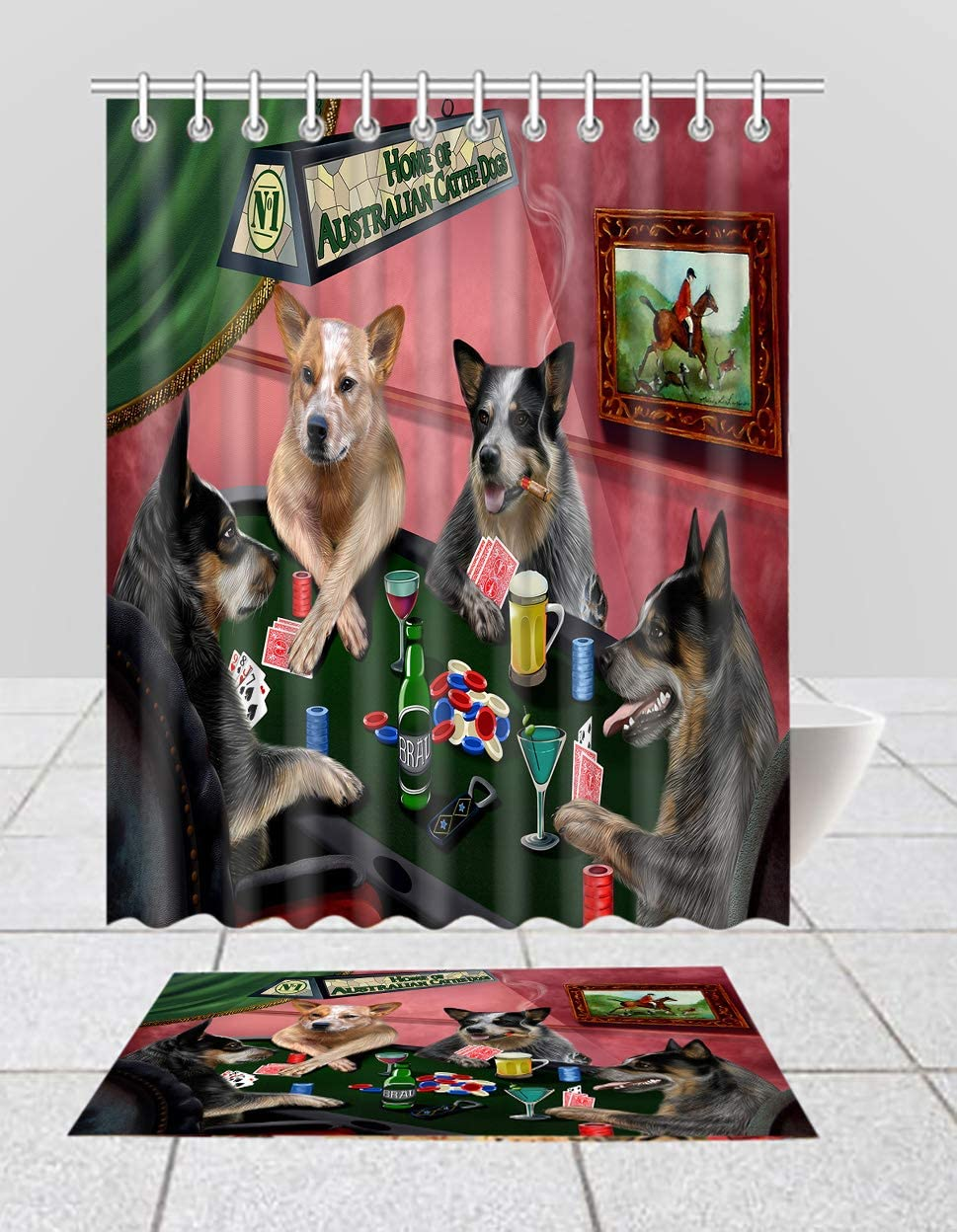 Home of Nippon regular agency Australian Max 61% OFF Cattle Dogs Poker Playing B Shower Curtain