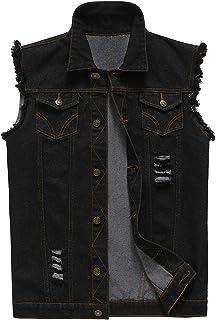 NASKY Men's Fit Retro Ripped Denim Vest Sleeveless Jean Vest and Jacket