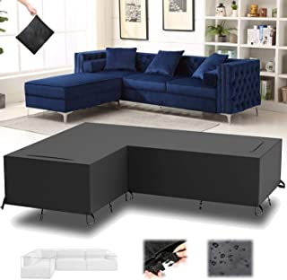 PA Garden Furniture Covers, Waterproof Patio Corner Couch Cover, Anti UV Dustproof Windproof V/L Shaped Sofa Dining Set Co...