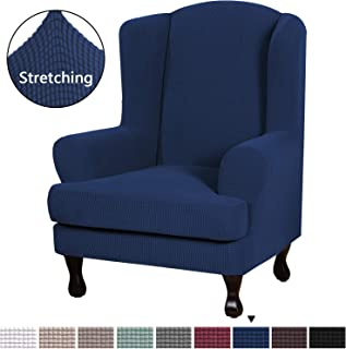 H.VERSAILTEX High Stretch Modern Spandex Sofa Cover/Wing Chair Slipcover 2 Piece Wing Back Arm Chair Furniture Cover Slipcover, Machine Washable Lycra Jacquard Fabric Stay in Place, Navy