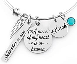 Memorial Jewelry Bangle -A piece of my heart is in heaven- Name Disc, Angel Wings & Birthstone Crystal