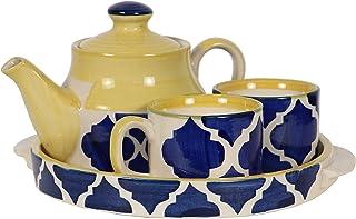 HS HINDUSTANI SAUDAGAR Microwave Safe Hand Made Painted Ceramic Tea Set With Kettle (Tea Pot) And 2 Cup Capacity Of 150 Ml...